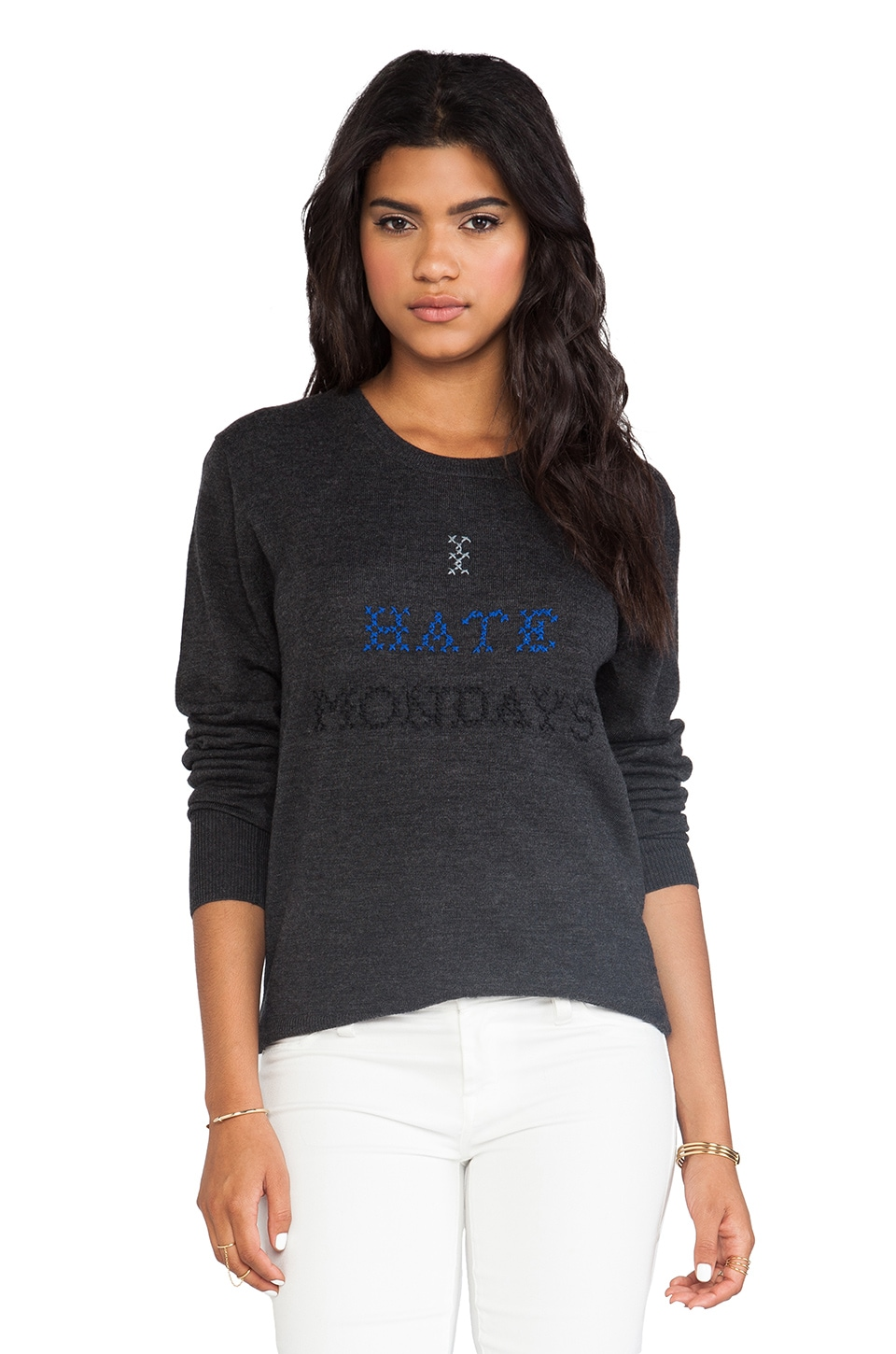 Markus Lupfer I Hate Mondays Cross Stitch Sweater in Charcoal