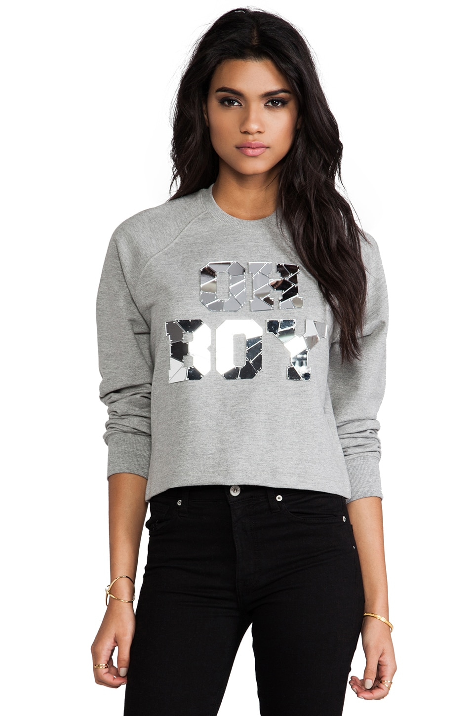 Markus Lupfer Oh Boy Mirror Crop Sweatshirt in Slate