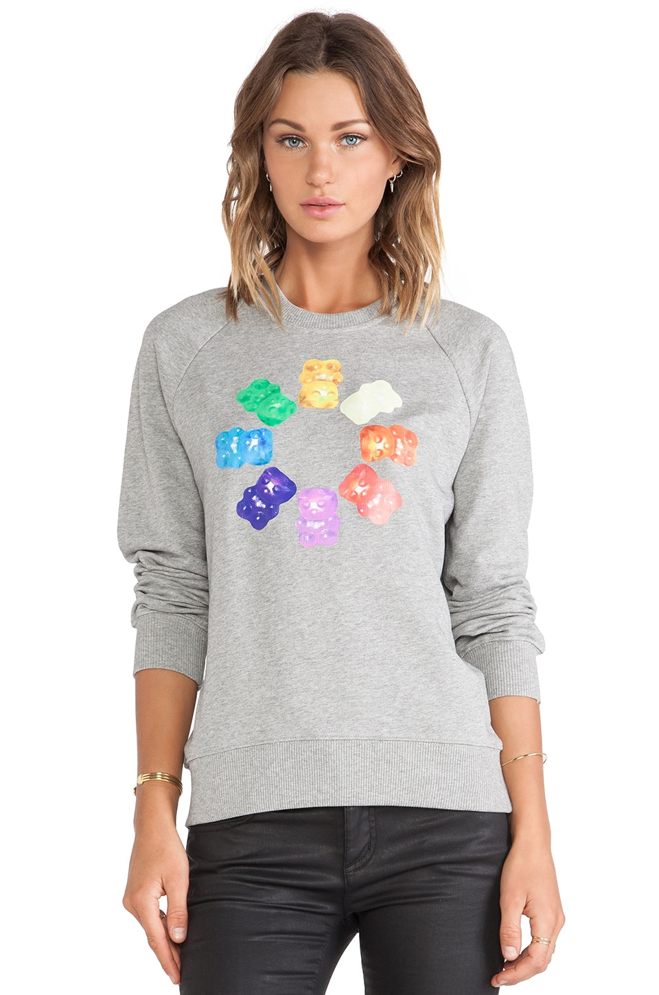 Markus Lupfer Rainbow Gummy Bears Sweatshirt in Grey