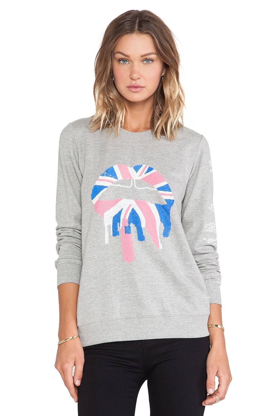 Markus Lupfer Union Jack Drip Lip Sequin Sweatshirt in Grey