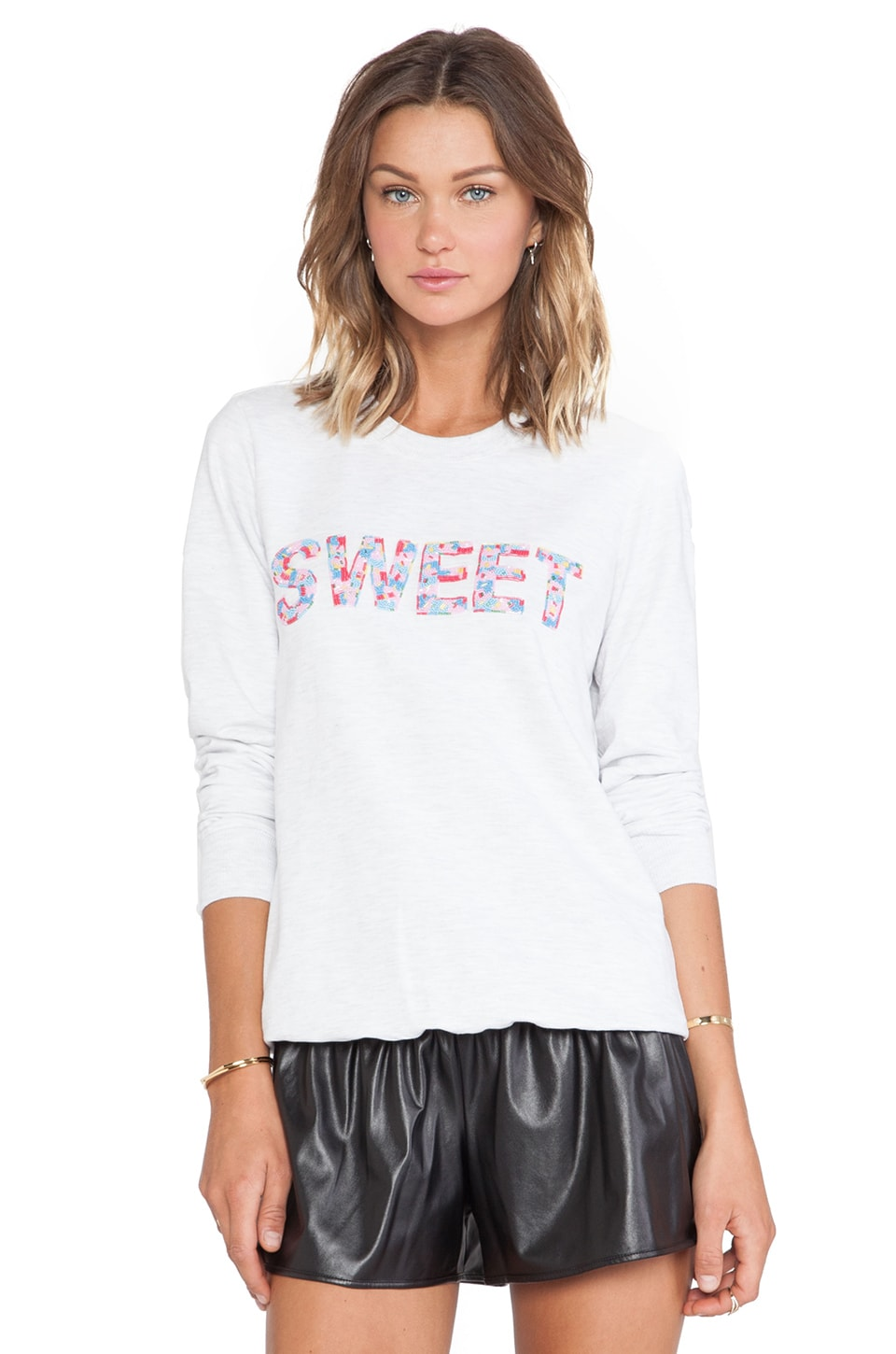 Markus Lupfer Sweet Beaded Sweatshirt in Snow Marl