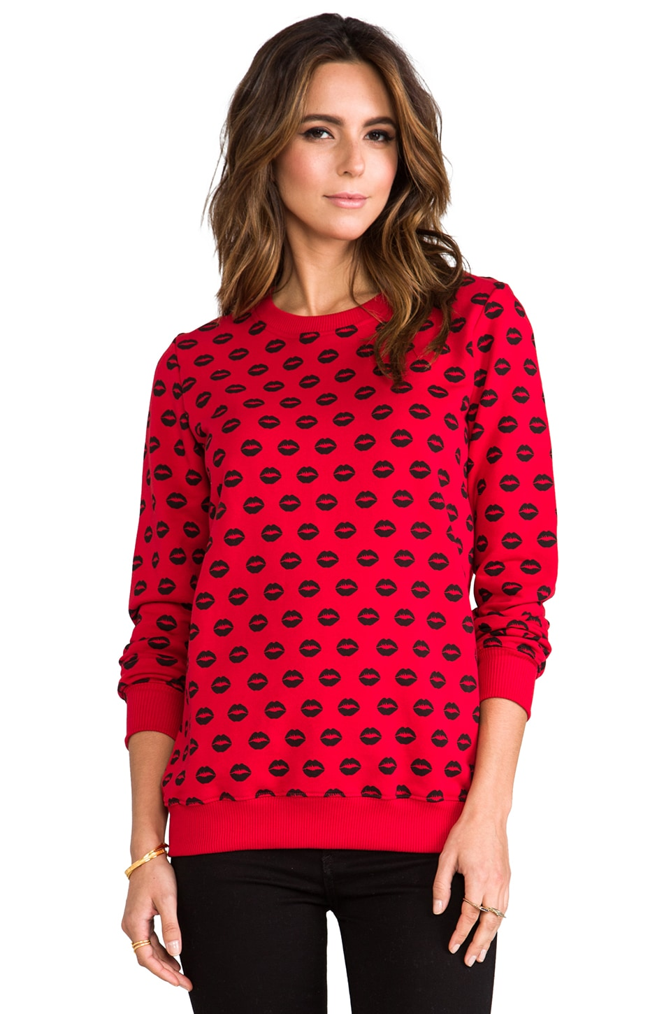 Markus Lupfer Lip Print Sweatshirt in Red