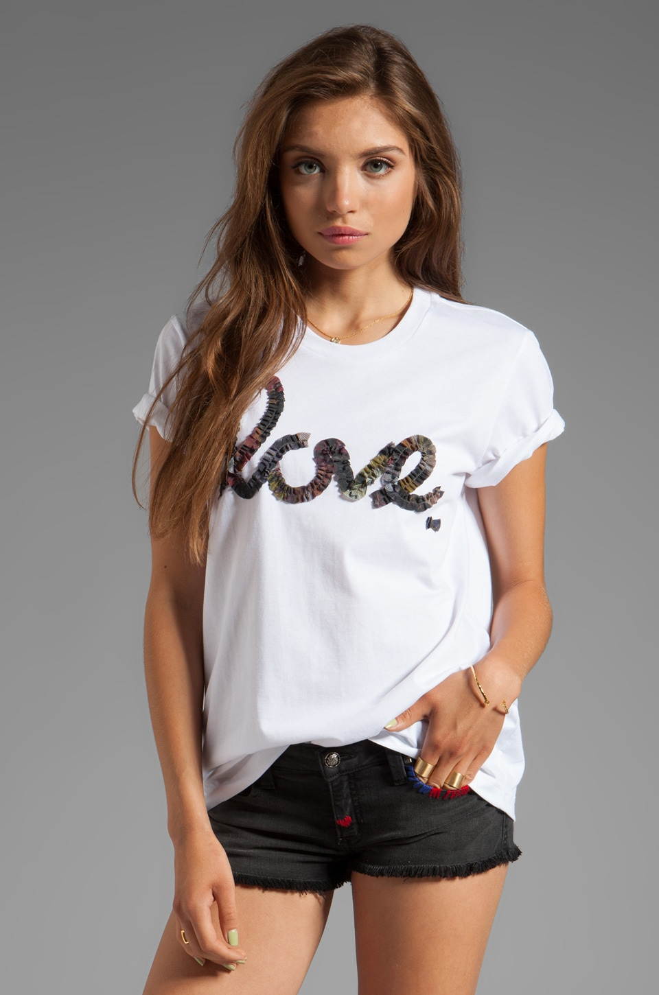 Markus Lupfer Love Ruffle Tee in White