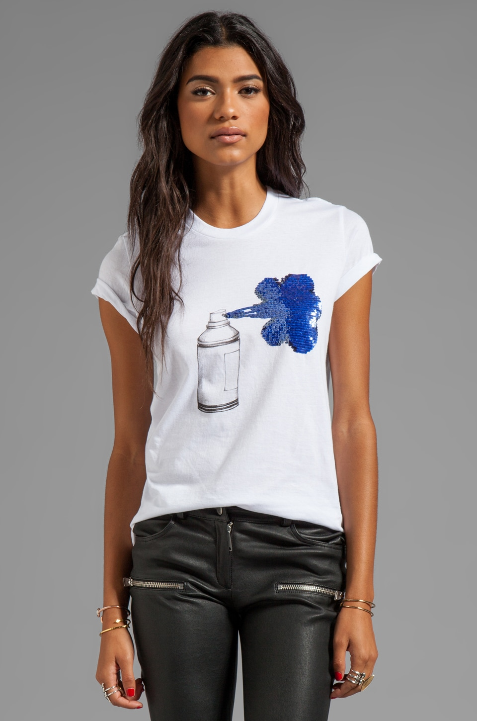 Markus Lupfer Sequin Spray Can Tee in White/Blue