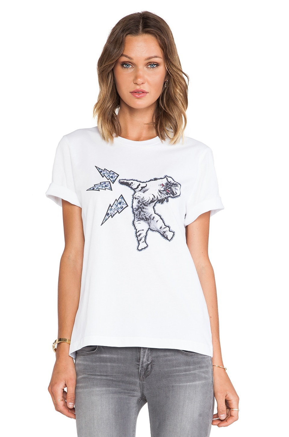 Markus Lupfer Cat Attack Alex Tee in White