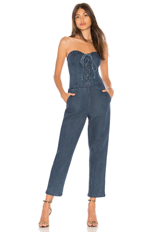 Marled x Olivia Culpo Corset Jumpsuit in Medium Wash