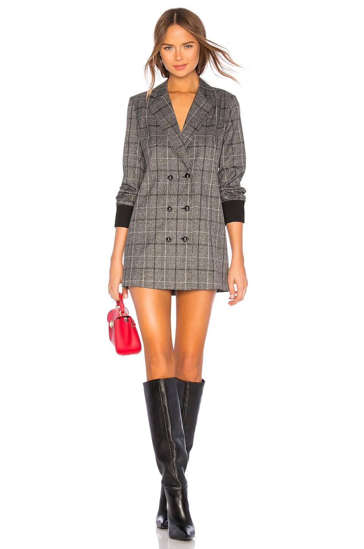 MARLED X OLIVIA CULPO Rib Cuff Blazer Dress in Gray