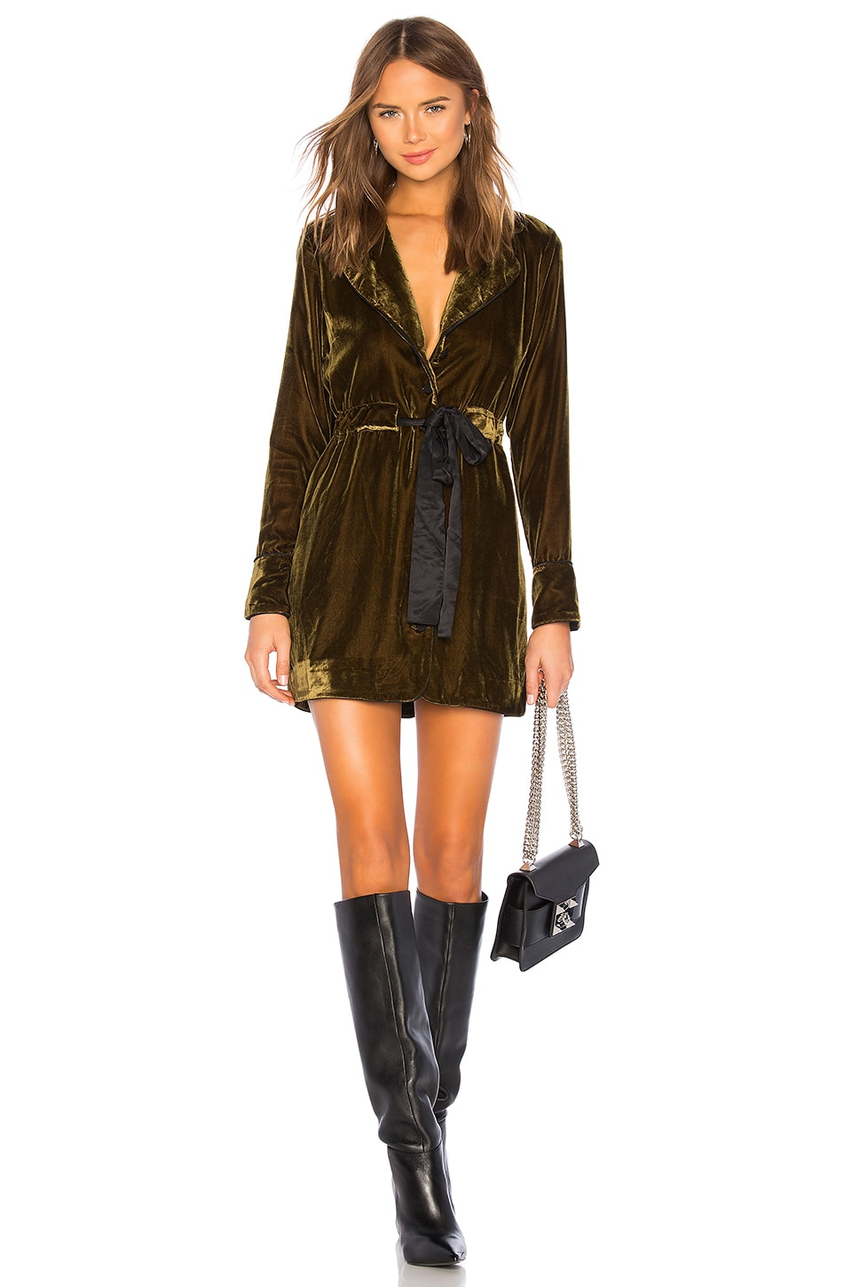 Marled x Olivia Culpo Velvet Piping Dress in Golden Olive