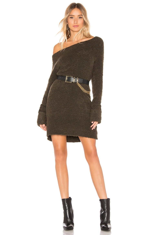 MARLED X OLIVIA CULPO Off Shoulder Sweater Dress in Olive