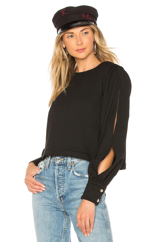 Marled x Olivia Culpo Cut Out Sleeve Sweatshirt in Black