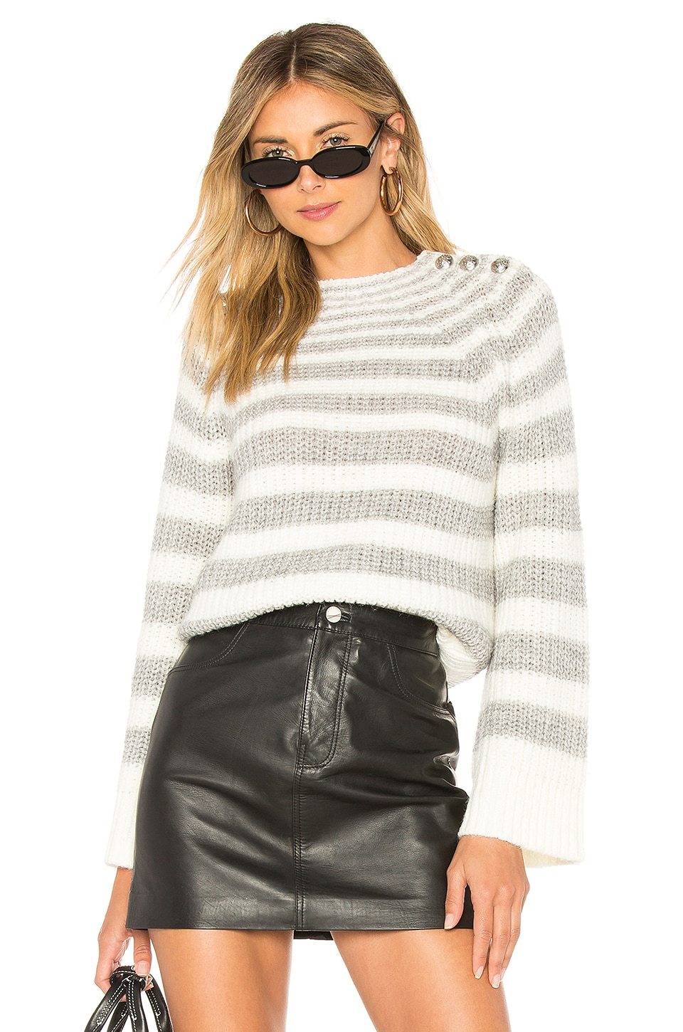 Marled x Olivia Culpo Striped Sweater in Grey & White