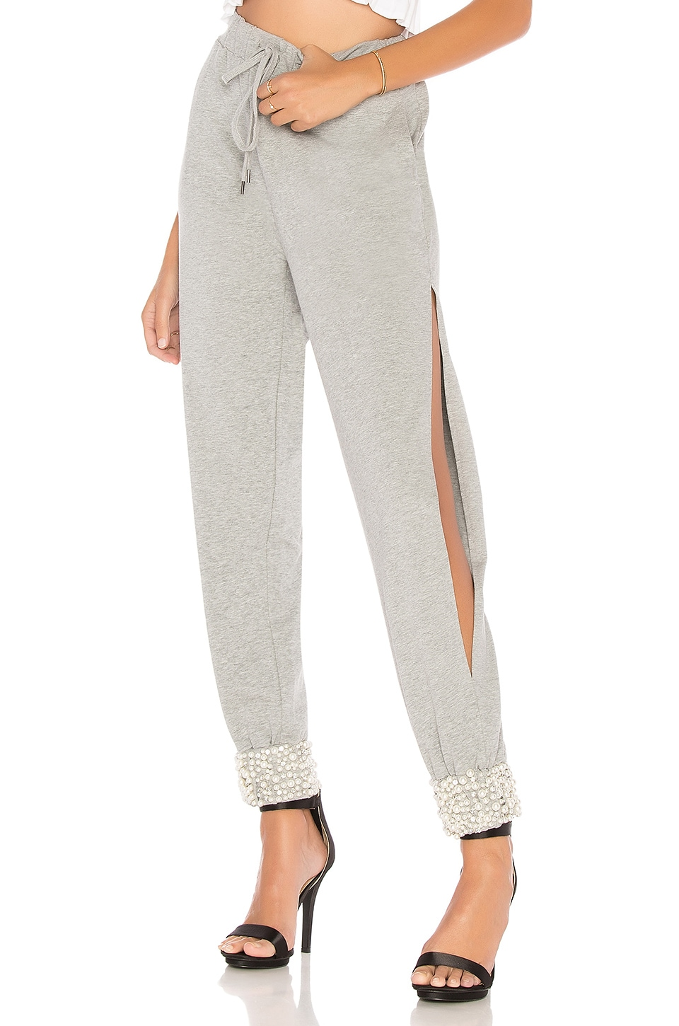 Marled x Olivia Culpo Side Slit Jogger Pant in Heather Grey