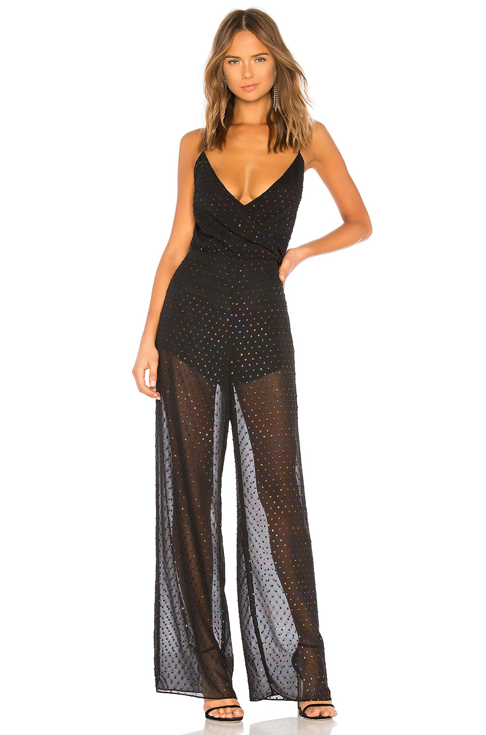Michelle Mason Cami Draped Jumpsuit en Multi Dot