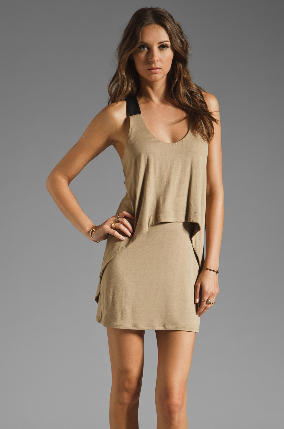 Michelle Mason Leather Strap Tank Dress in Camel