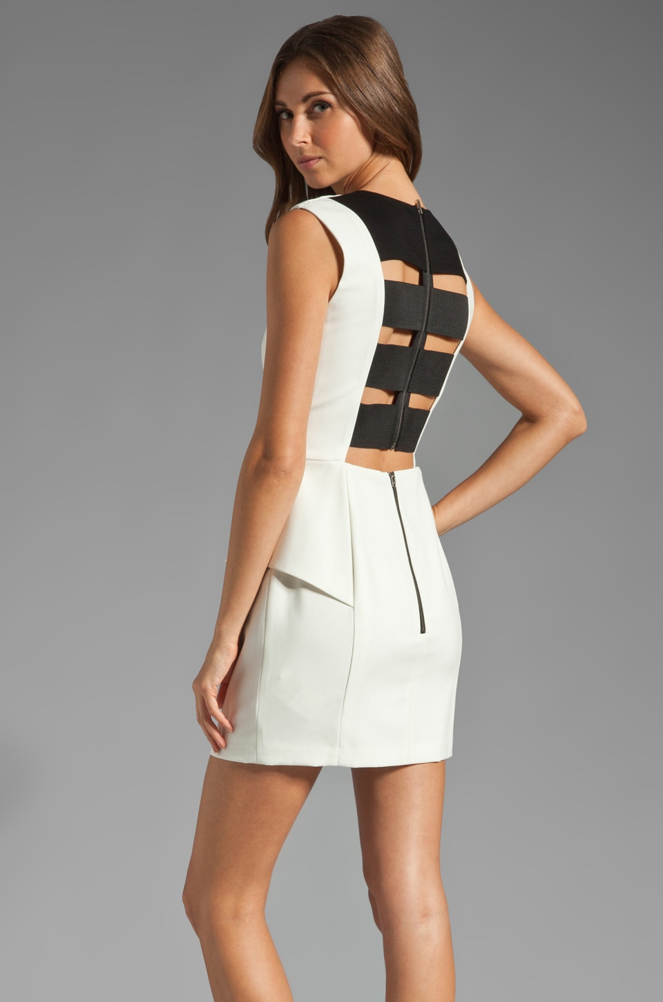 Michelle Mason Elastic Back Dress in Ivory