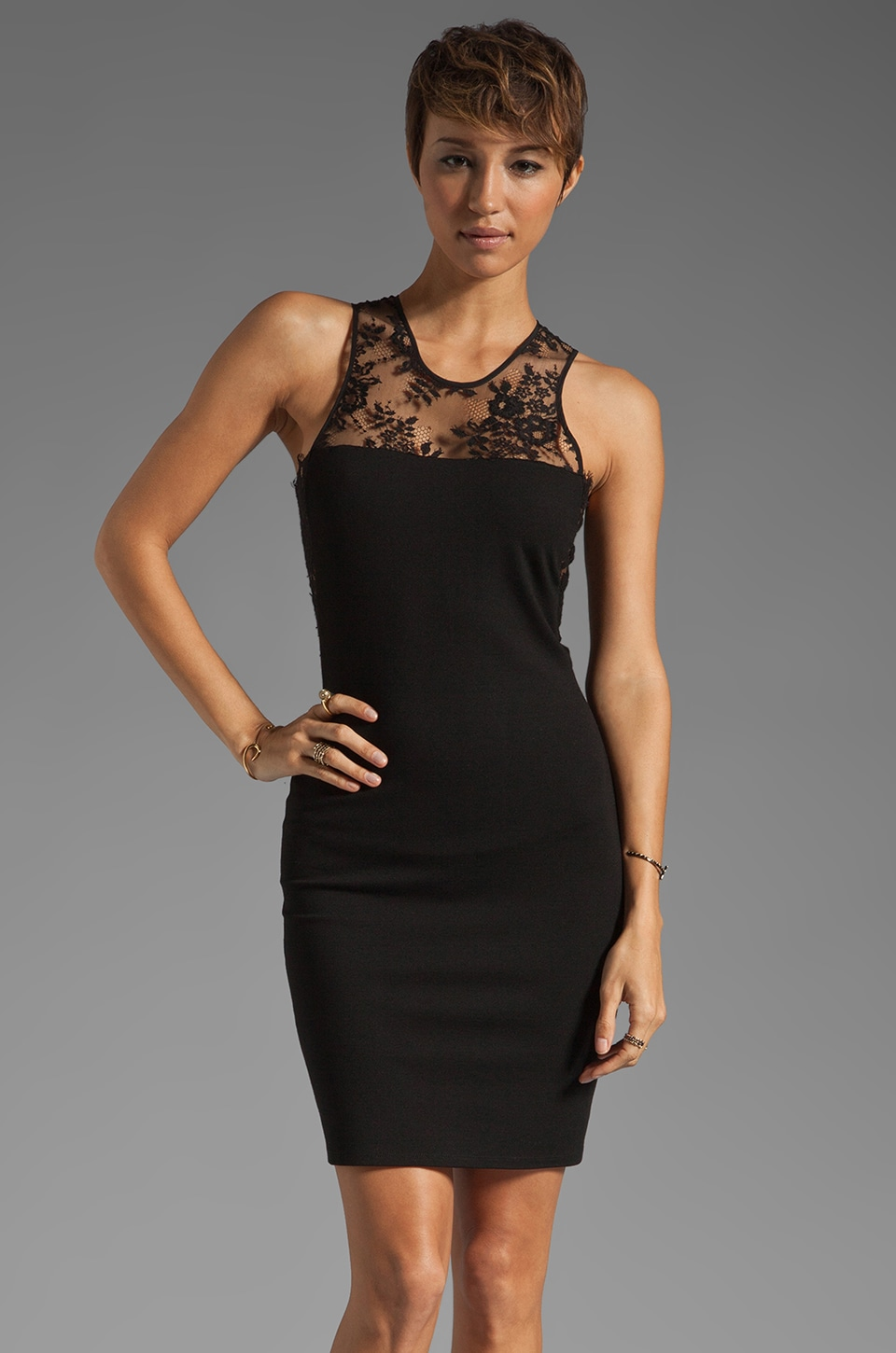 Mason by Michelle Mason Lace Inset Dress in Black