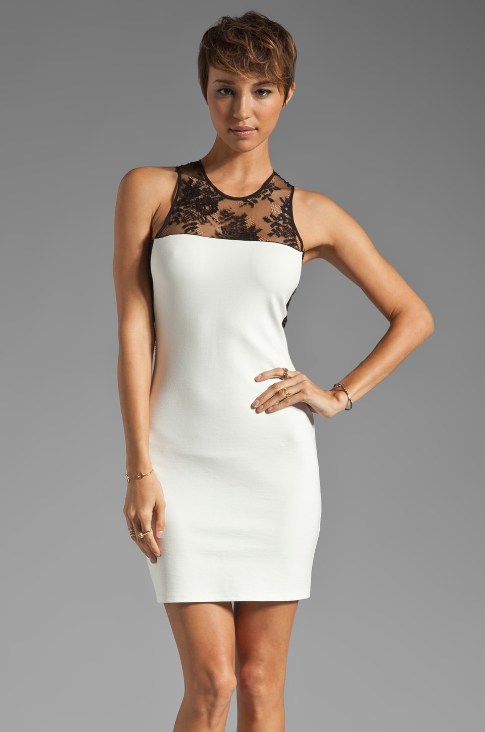 Mason by Michelle Mason Lace Inset Dress in White