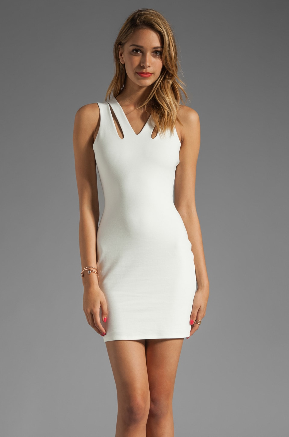 Michelle Mason Cut Out Tank Dress in White