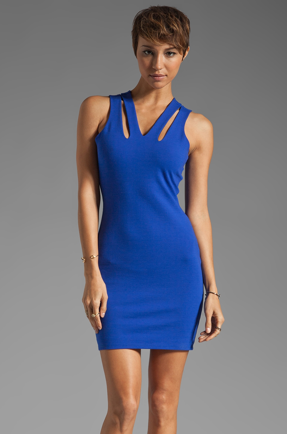 Mason by Michelle Mason Cut Out Tank Dress in Cobalt