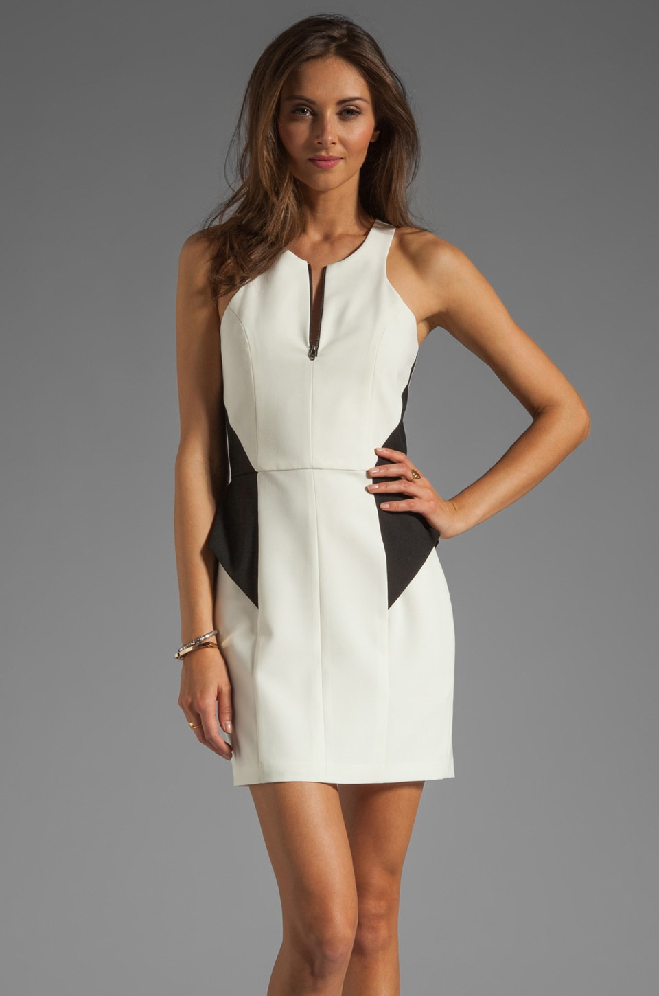 Michelle Mason Zip Front Peplum Dress in Black/Ivory