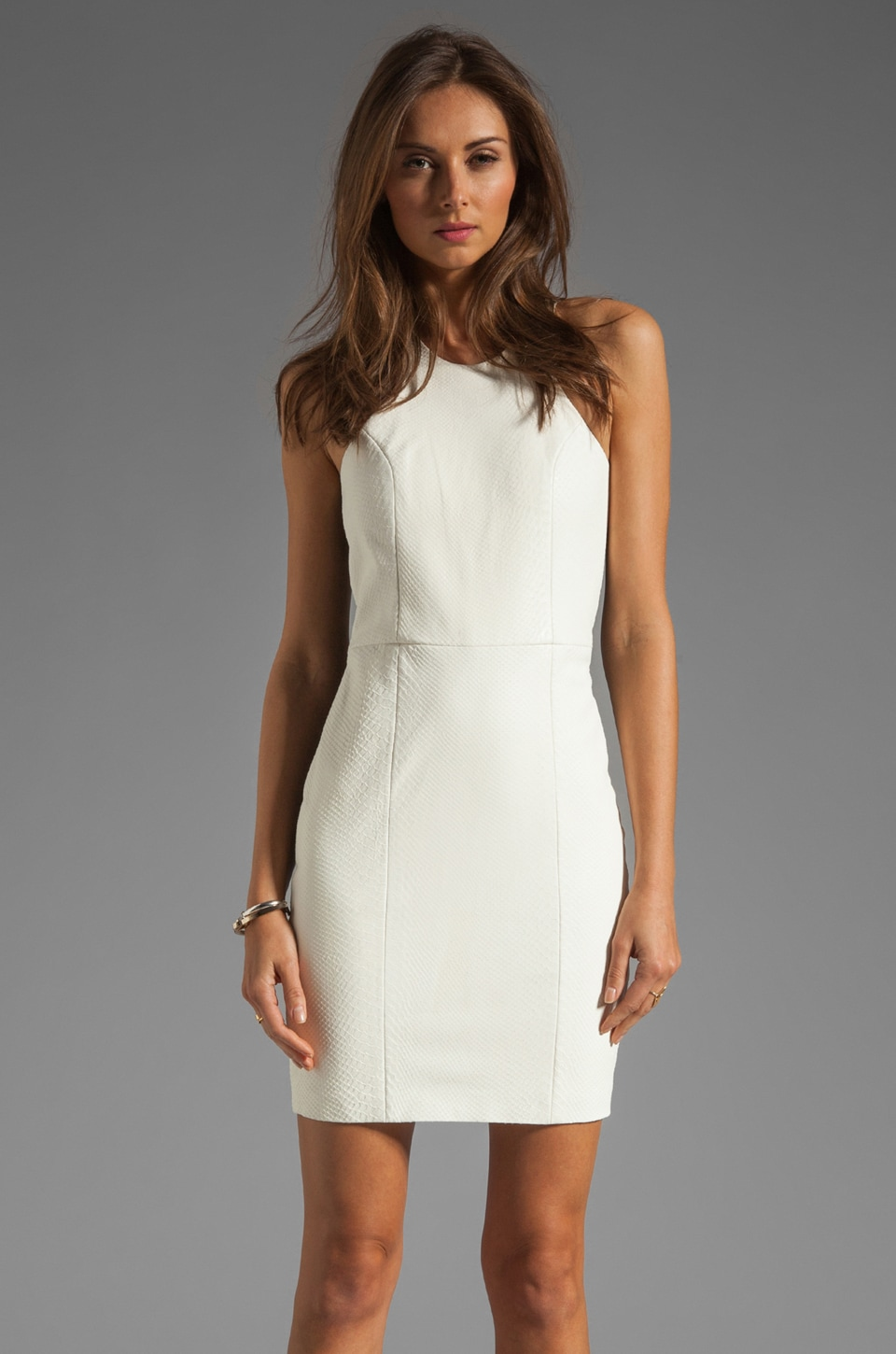 Mason by Michelle Mason Leather Front Dress in Ivory