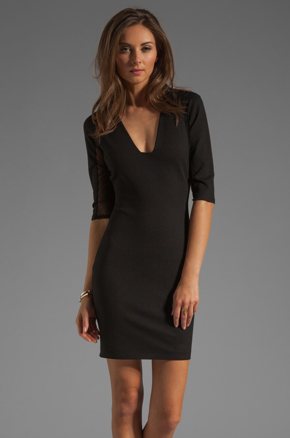 Michelle Mason Mesh Inset Plunge Neck Dress in Black