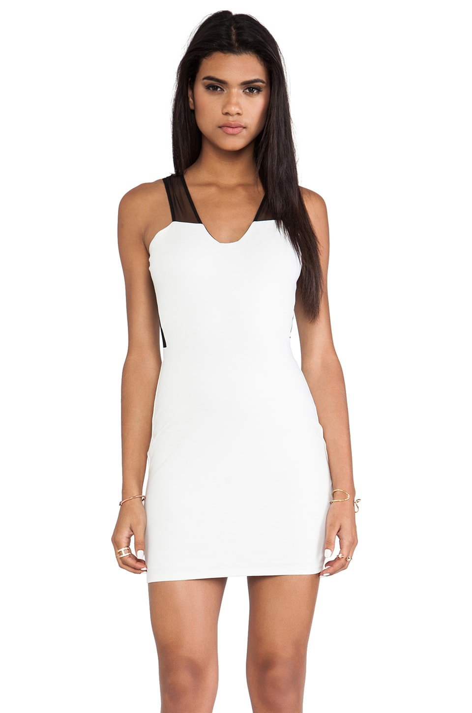 Mason by Michelle Mason Mesh Inset Sleeveless Plunge Neck Dress in Black/White