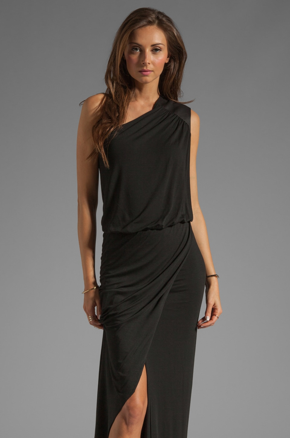 Michelle Mason Leather Trim Asymmetric Gown in Black