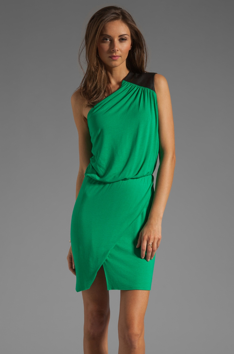 Michelle Mason Leather Trim Asymmetric Mini Dress in Green