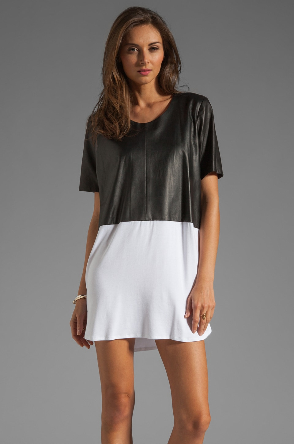 Michelle Mason Leather Front Tee Dress in Black/White
