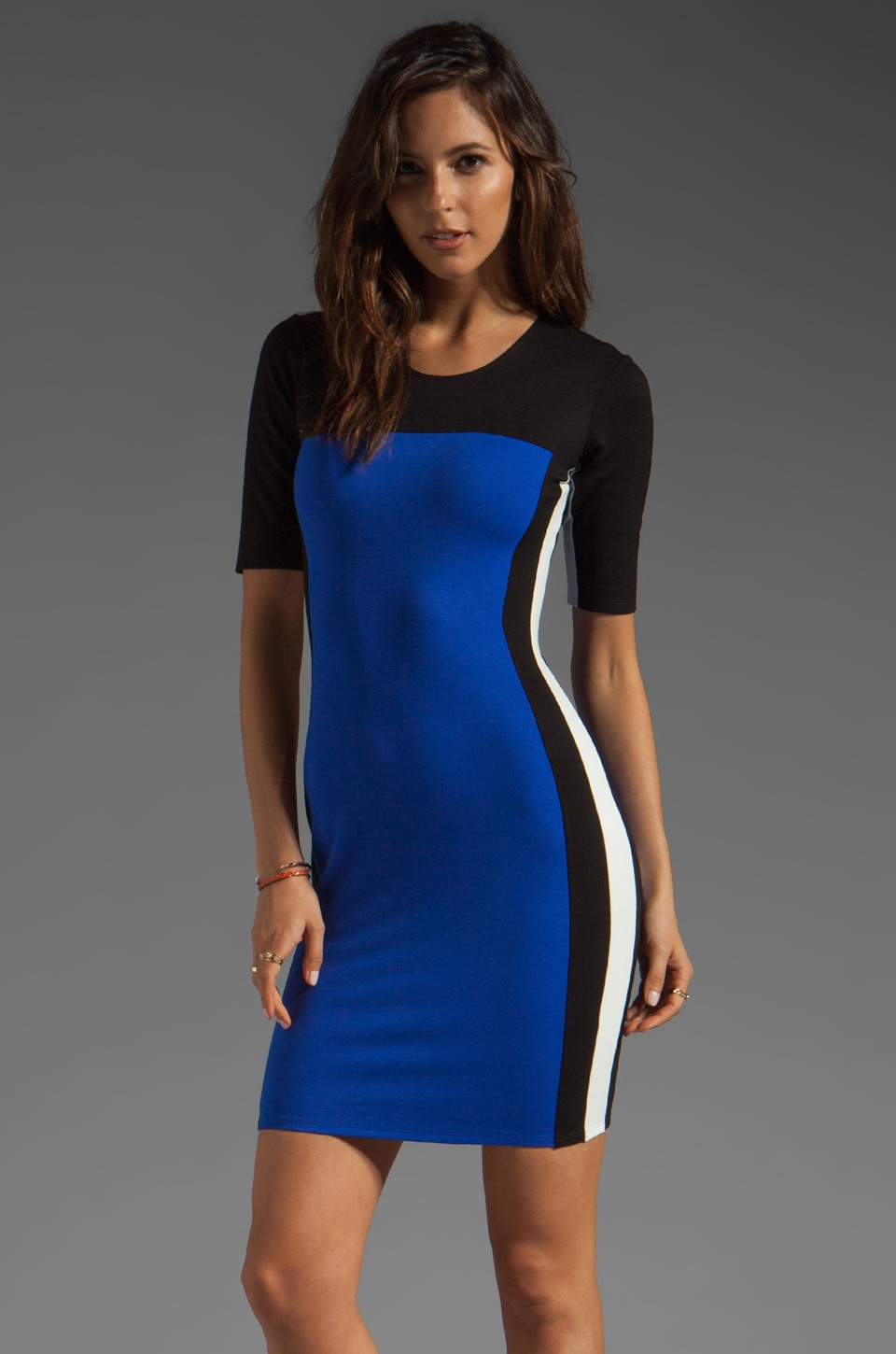 Michelle Mason Tri-Coloured Dress in Blue