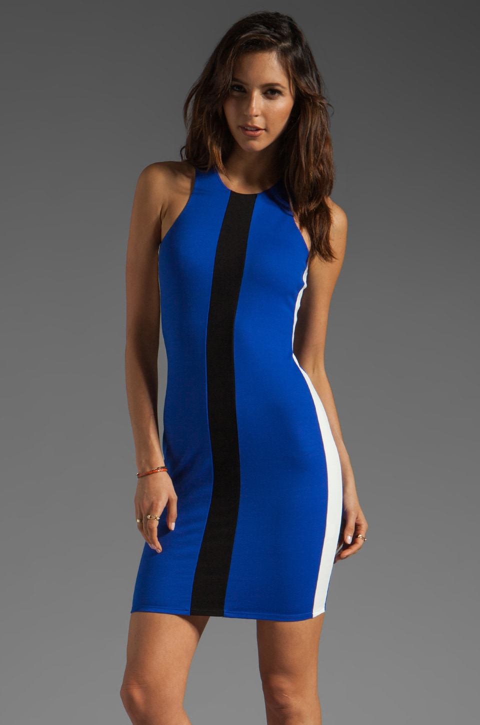 Michelle Mason Tri-Coloured Tank Dress in Blue