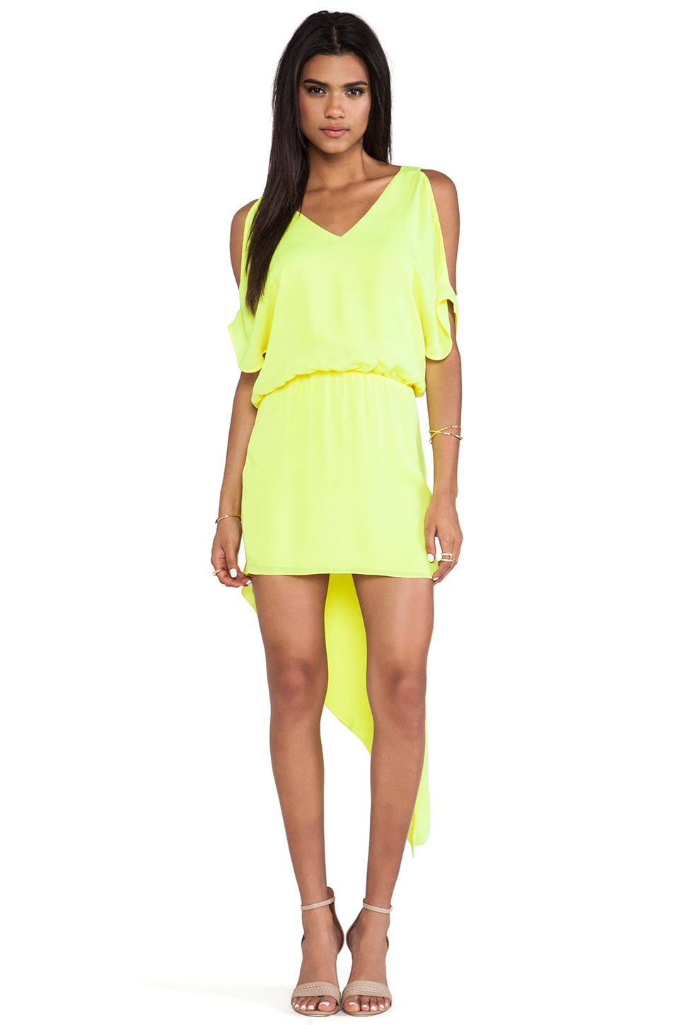 Michelle Mason Open Shoulder Asymmetric Dress in Citron
