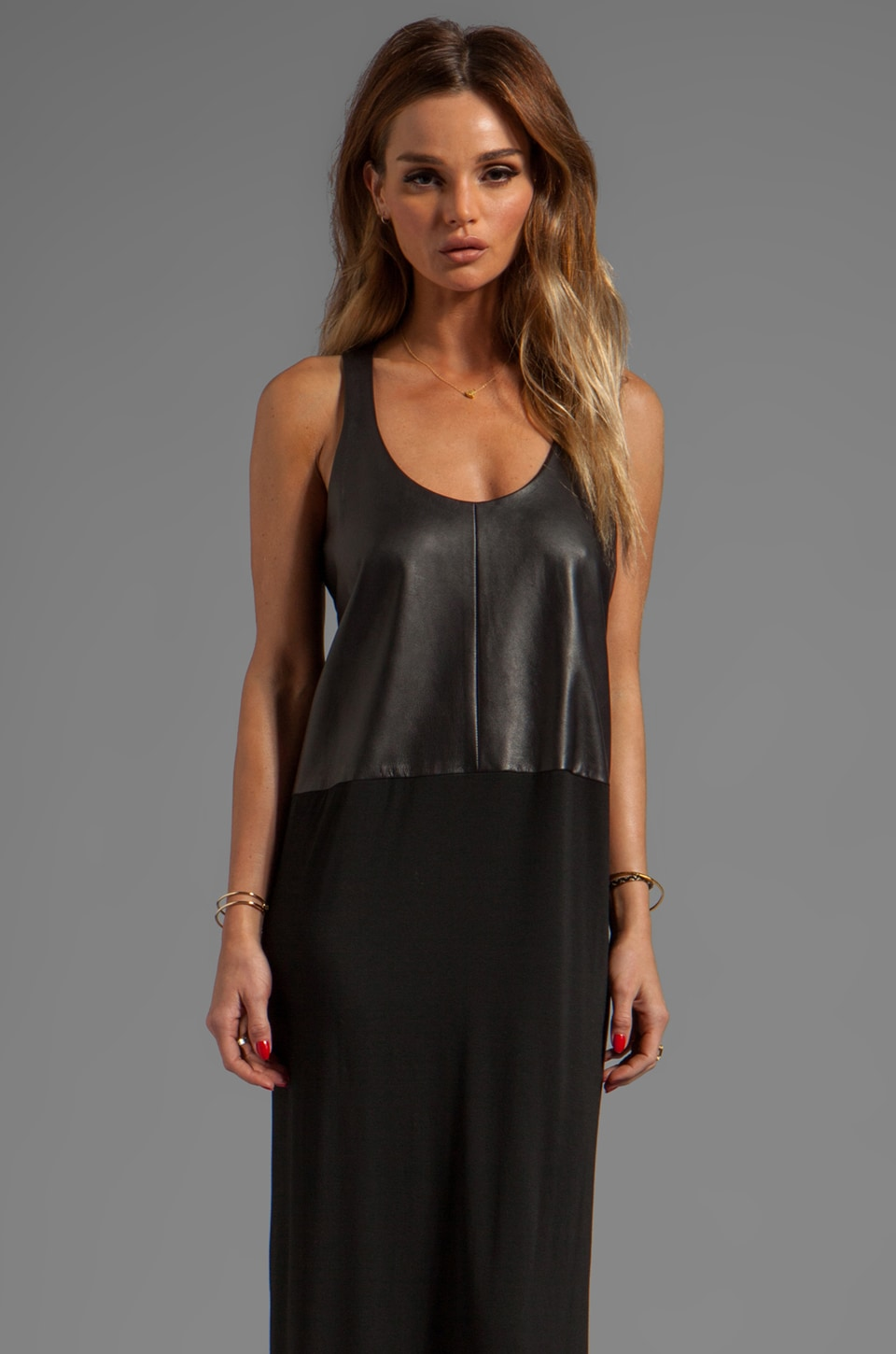 Michelle Mason Leather Front Maxi Dress in Black
