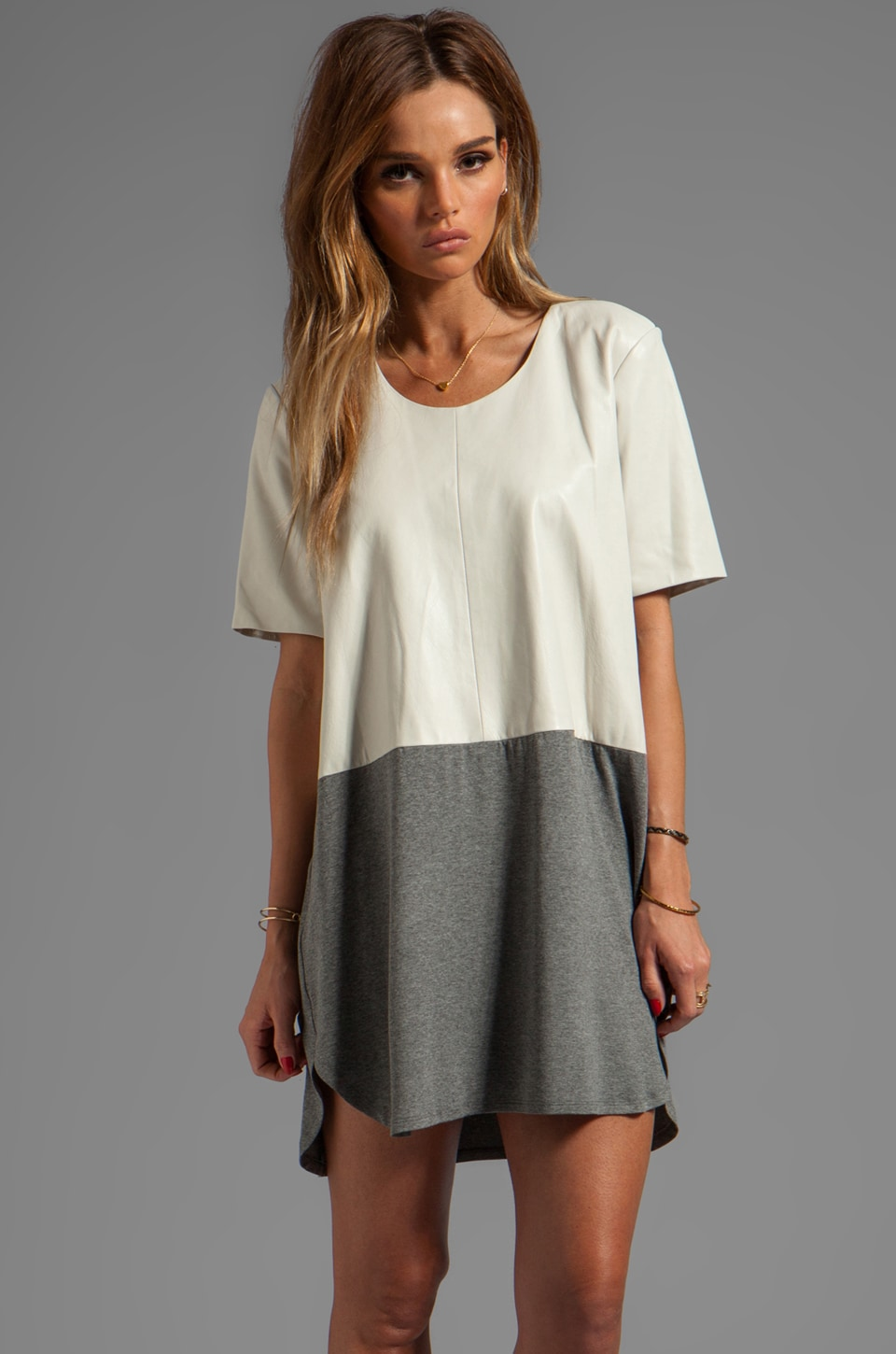 Michelle Mason Leather Front Tee Dress in Grey/Bone