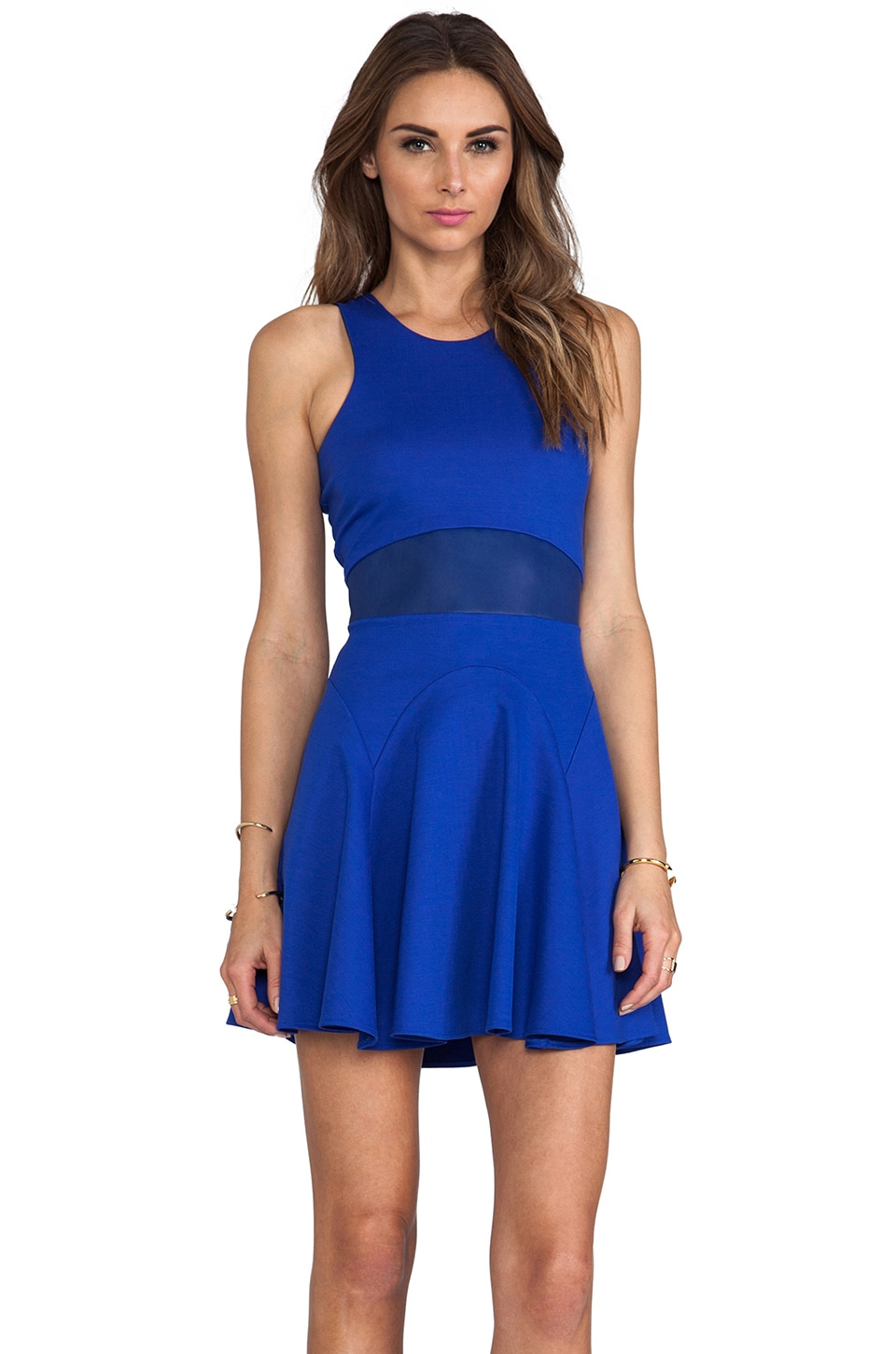 Michelle Mason Flare Tank Dress in Cobalt