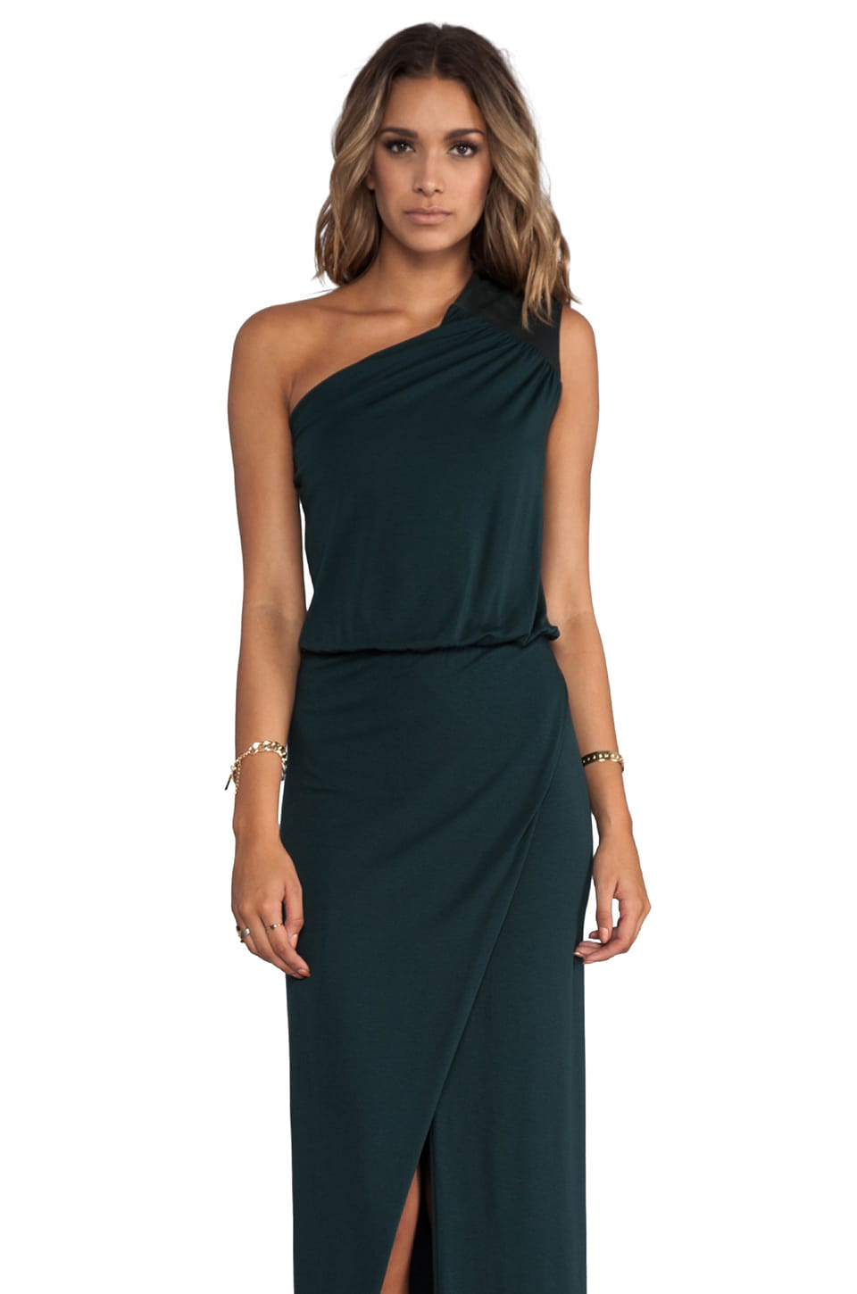 Michelle Mason Asymmetrical Gown in Hunter