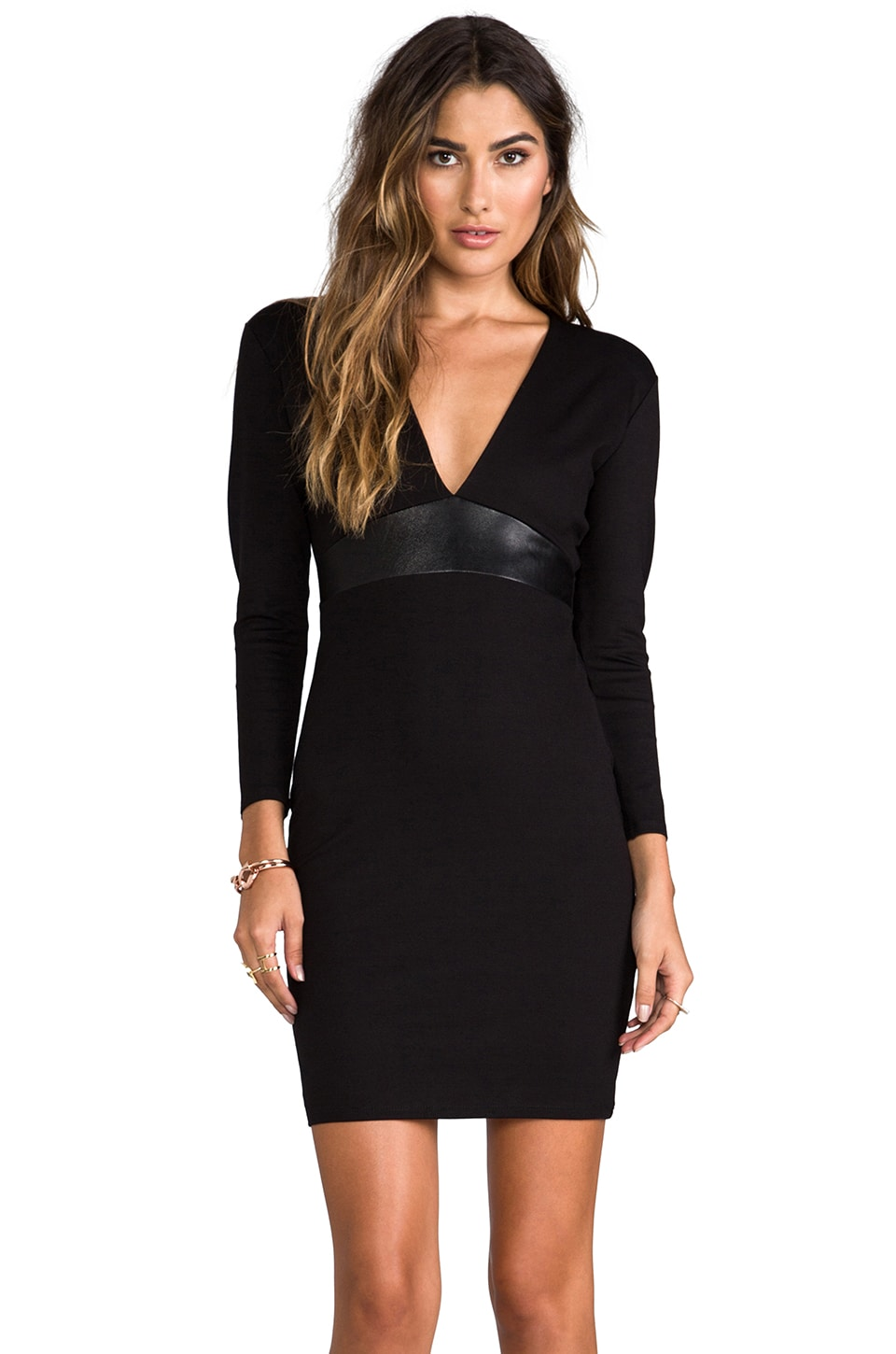 Michelle Mason Leather Belt Dress in Black