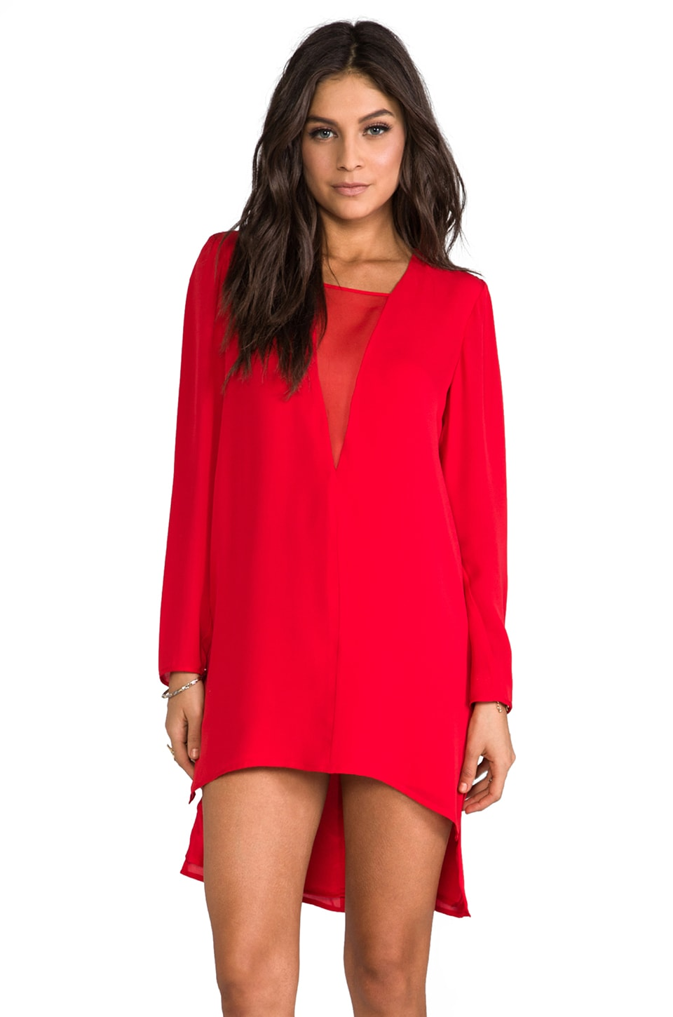 Michelle Mason Chiffon Inset Shift Dress in Red