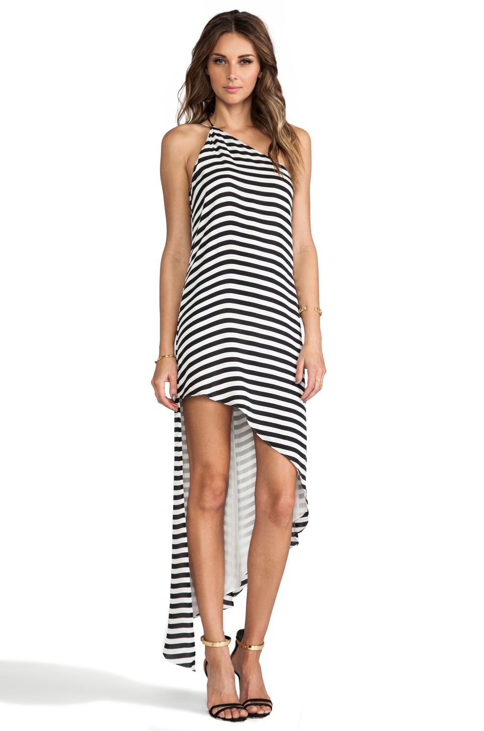 Michelle Mason Asymmetrical Shift Maxi Dress in Stripe