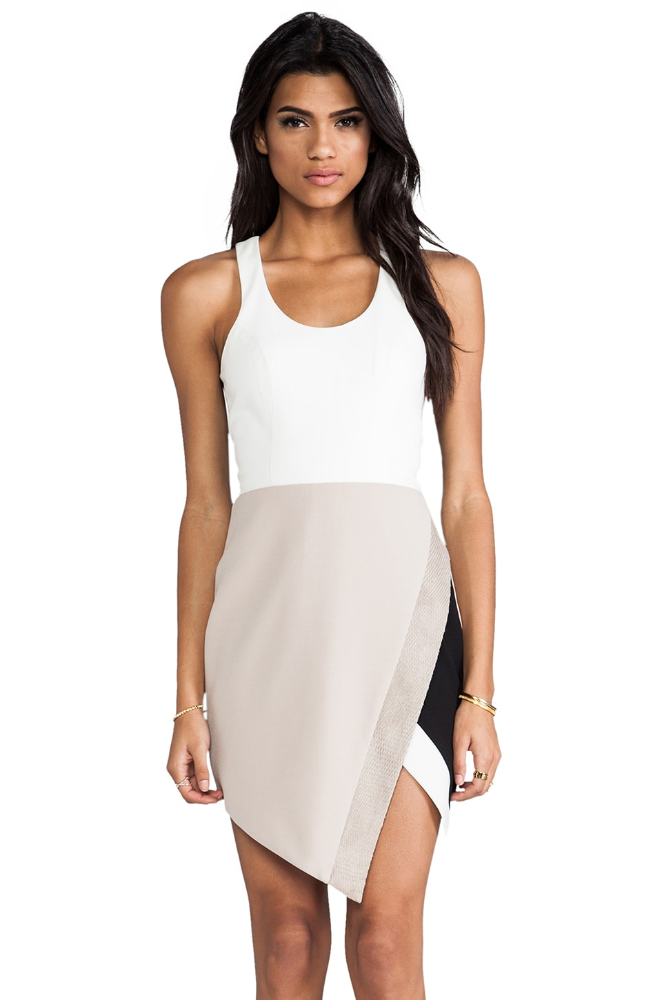 Michelle Mason Tank Combo Dress in Ivory