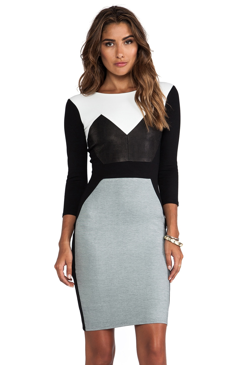 Michelle Mason Long Sleeve Dress in Grey Combo
