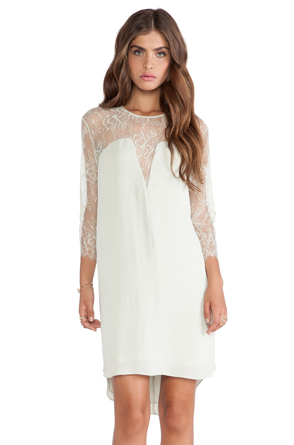 Michelle Mason Lace Shift Dress in Celadon