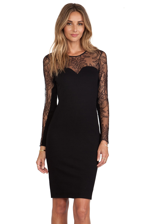 Michelle Mason Lace Dress in Black