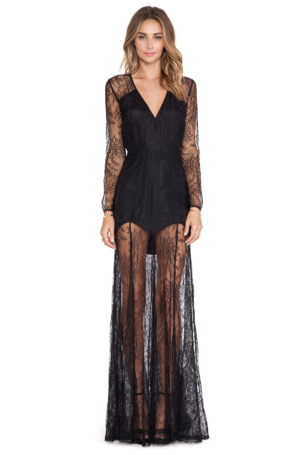 Michelle Mason Lace Gown in Black