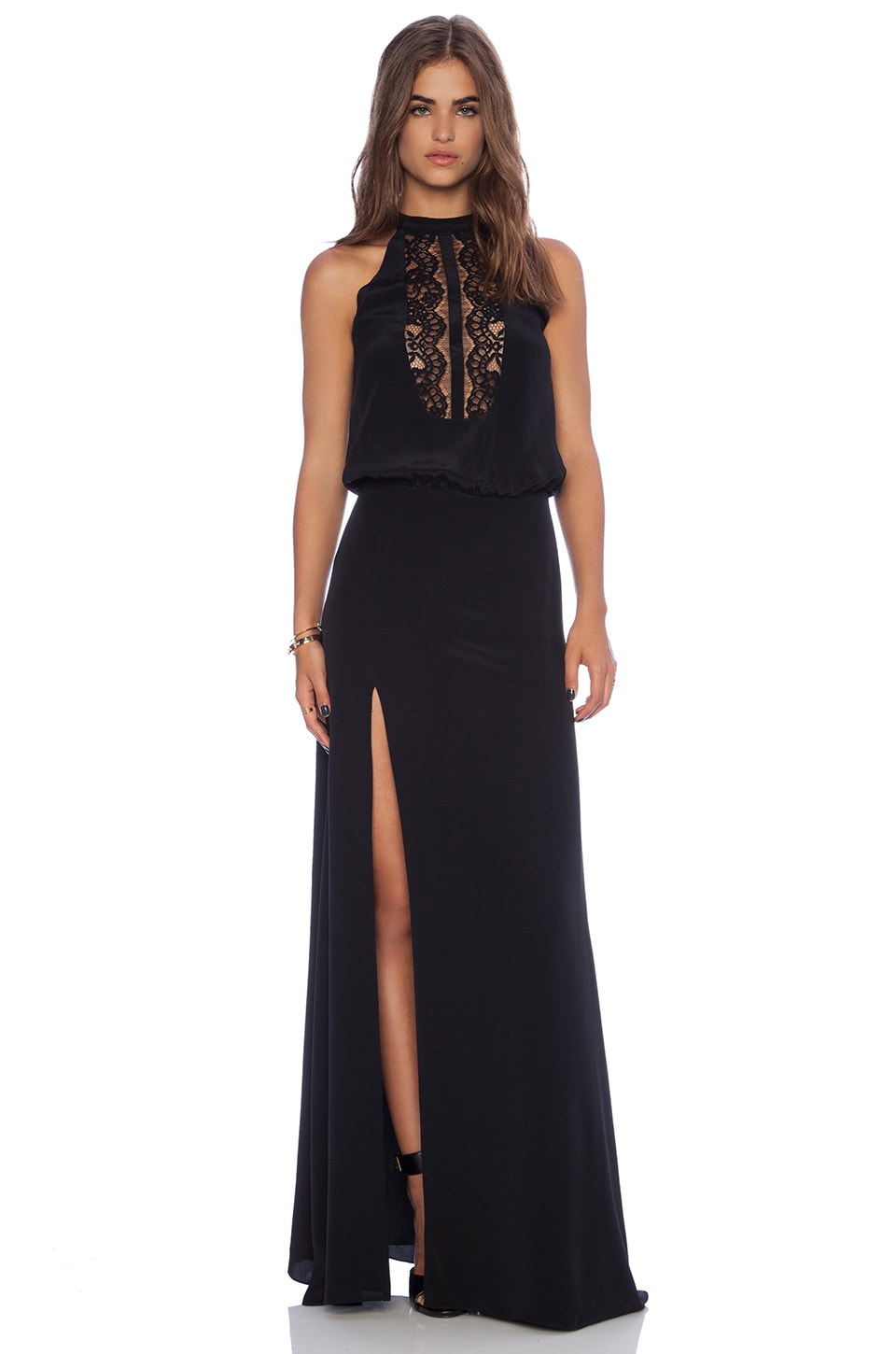 Michelle Mason Lace Halter Gown in Black