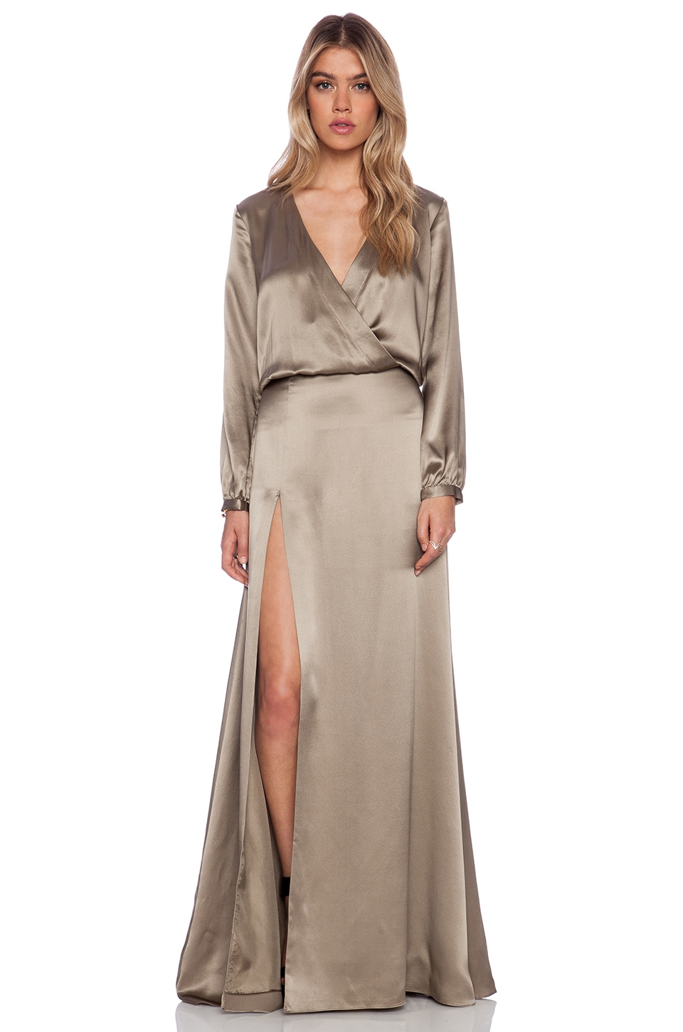 Michelle Mason Wrap Gown in Pewter