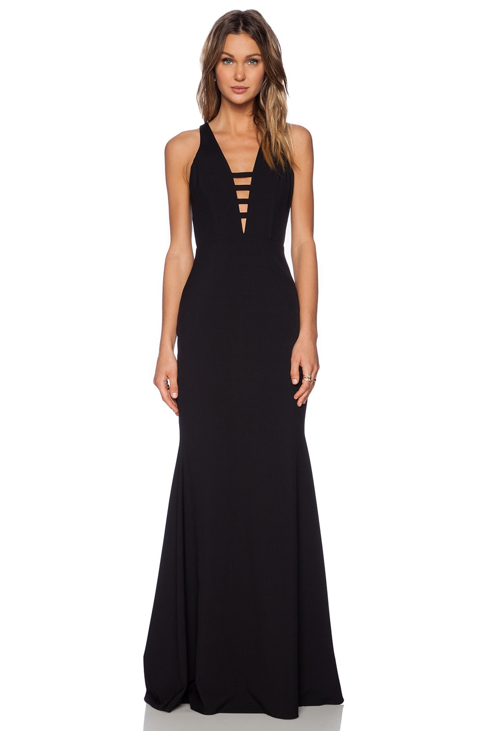 Michelle Mason Bar Strap Gown in Black