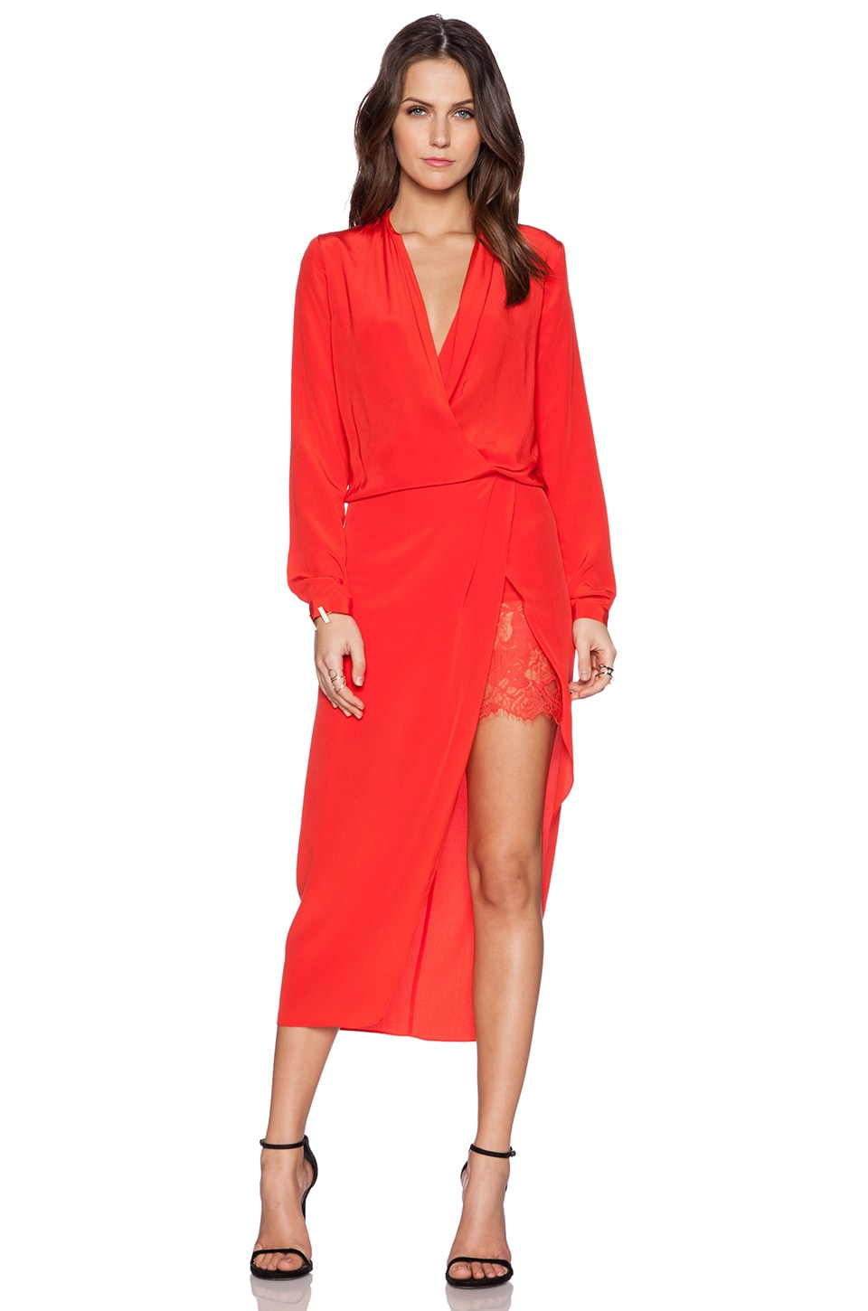 Michelle Mason Longsleeve Wrap Dress in Poppy