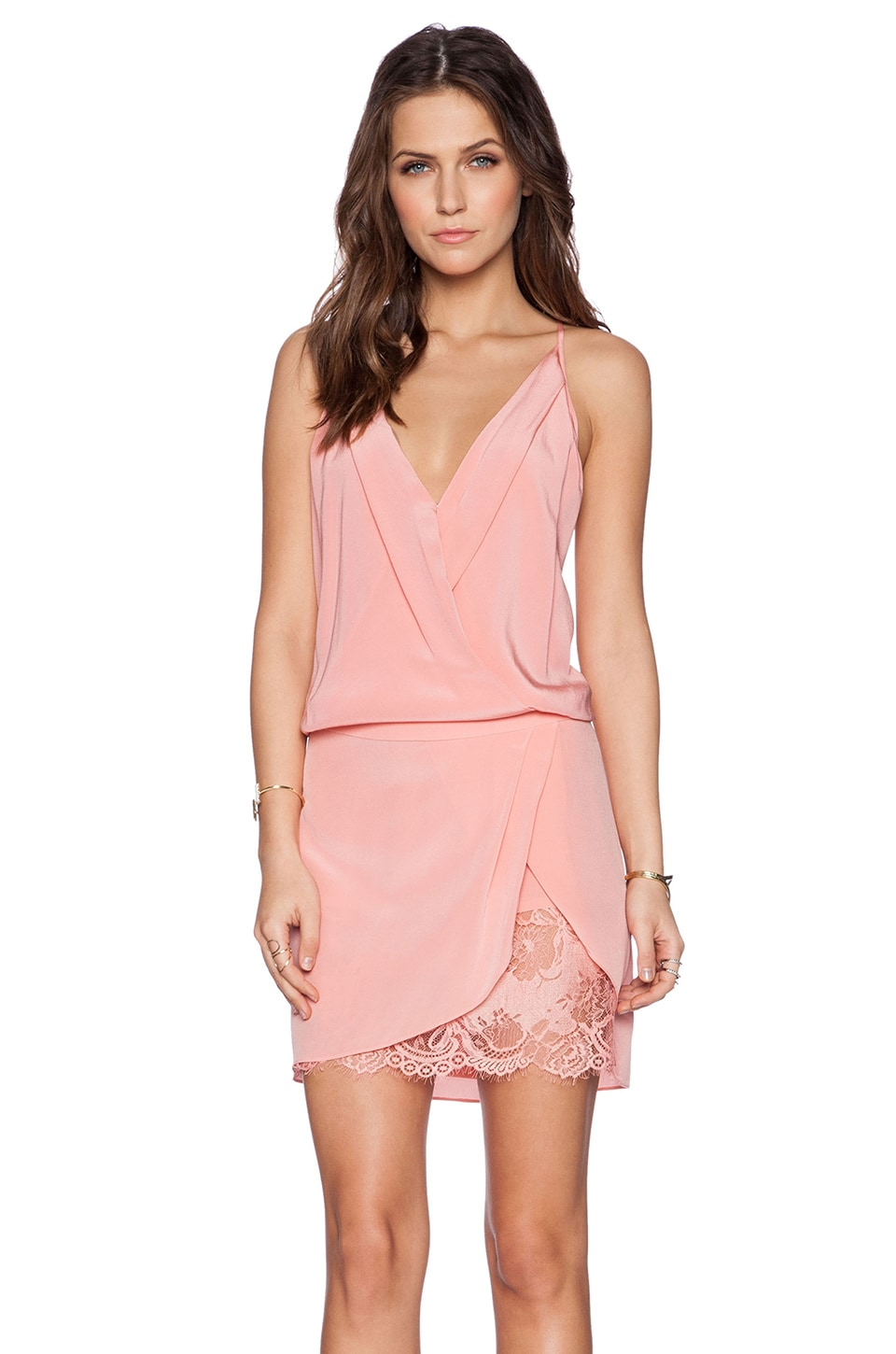 Michelle Mason Wrap Mini Dress in Rose